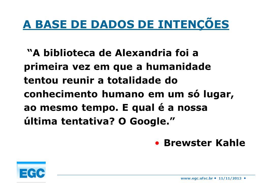 www.egc.ufsc.br 11/11/2013 IMPLICAÇÕES - Quase qualquer pergunta que alguém possa fazer pode ser respondida de uma forma ou de outra, explorando a Base de Dados de Intenções.