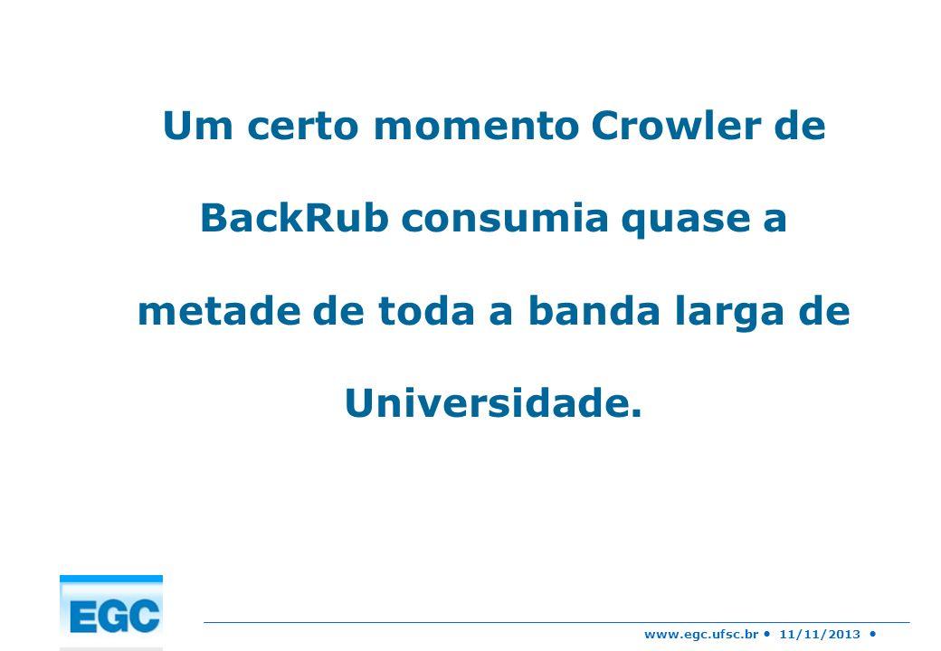 www.egc.ufsc.br 11/11/2013 Um certo momento Crowler de BackRub consumia quase a metade de toda a banda larga de Universidade.