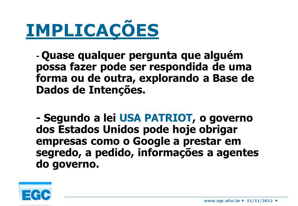 www.egc.ufsc.br 11/11/2013 IMPLICAÇÕES - Quase qualquer pergunta que alguém possa fazer pode ser respondida de uma forma ou de outra, explorando a Bas