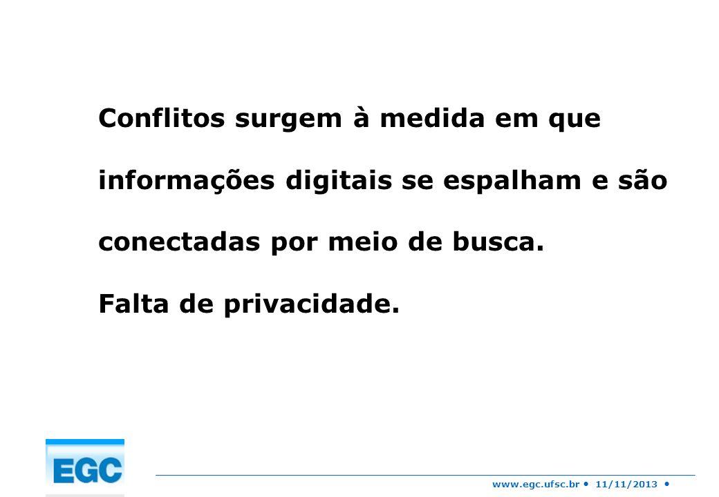 www.egc.ufsc.br 11/11/2013 Conflitos surgem à medida em que informações digitais se espalham e são conectadas por meio de busca. Falta de privacidade.