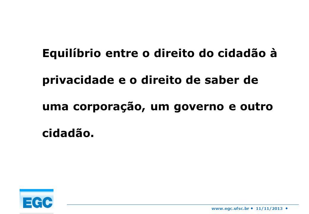www.egc.ufsc.br 11/11/2013 Pensamentos privados estão sujeitos ao escrutínio de uma infra-estrutura tecnológica que estava fora do seu alcance (gmail).