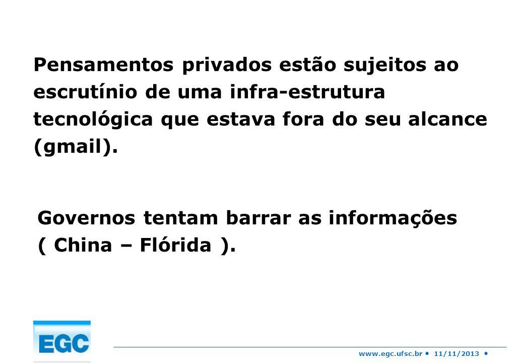www.egc.ufsc.br 11/11/2013 Através do programa Patriot Act tem o direito de interceptar suas comunicações de dados privados por meio de uma solicitação ao seu ISP – agregador de dados ( acontece sem que saibamos).