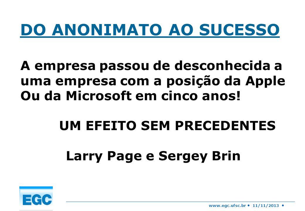 www.egc.ufsc.br 11/11/2013 DO ANONIMATO AO SUCESSO A empresa passou de desconhecida a uma empresa com a posição da Apple Ou da Microsoft em cinco anos