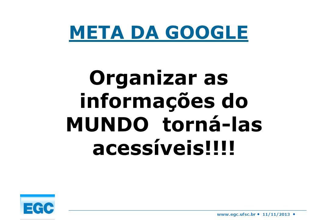 www.egc.ufsc.br 11/11/2013 META DA GOOGLE Organizar as informações do MUNDO torná-las acessíveis!!!!