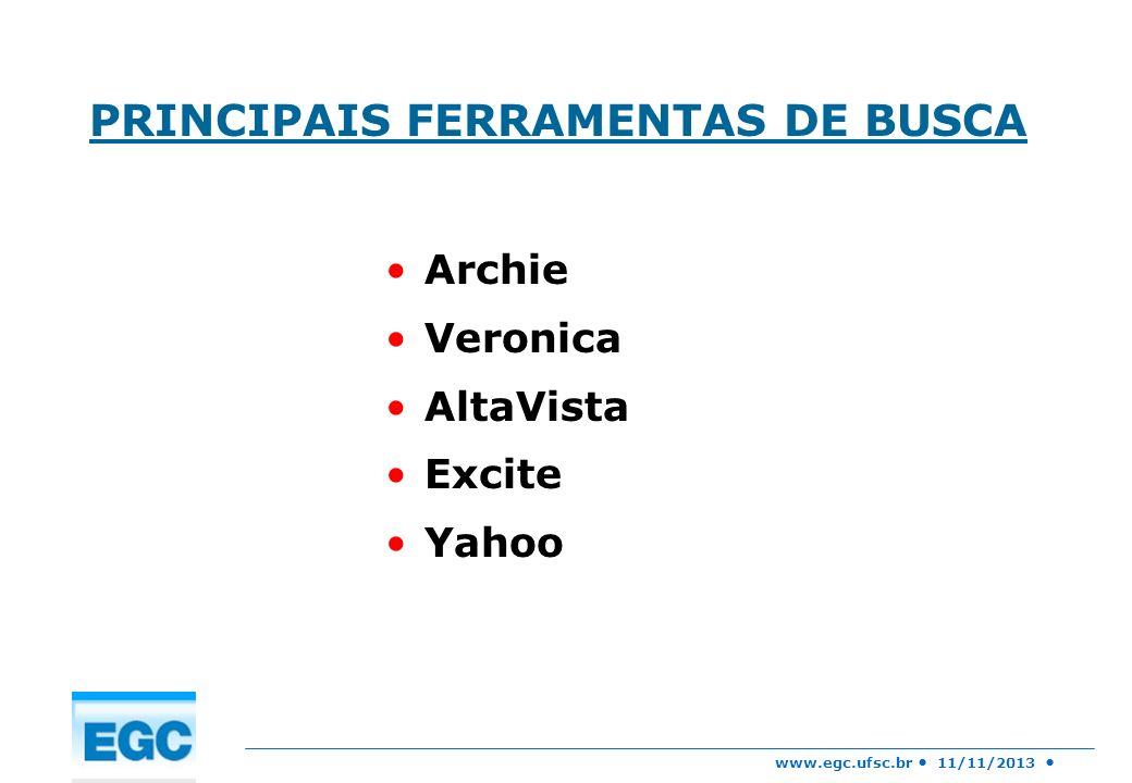 www.egc.ufsc.br 11/11/2013 PRINCIPAIS FERRAMENTAS DE BUSCA Archie Veronica AltaVista Excite Yahoo
