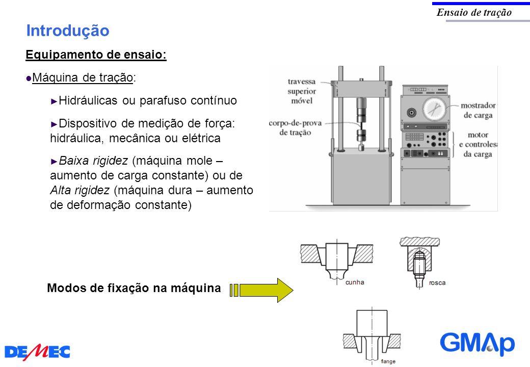 Introdução Ensaio de tração Equipamento de ensaio: Máquina de tração: Hidráulicas ou parafuso contínuo Dispositivo de medição de força: hidráulica, me