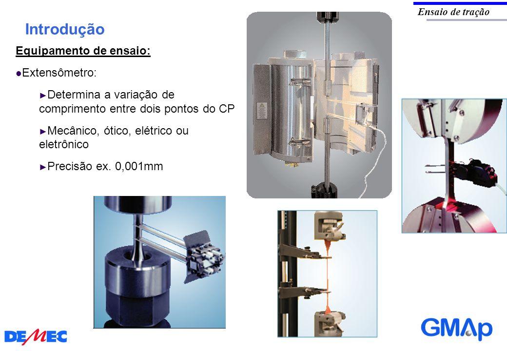 Introdução Ensaio de tração Equipamento de ensaio: Extensômetro: Determina a variação de comprimento entre dois pontos do CP Mecânico, ótico, elétrico