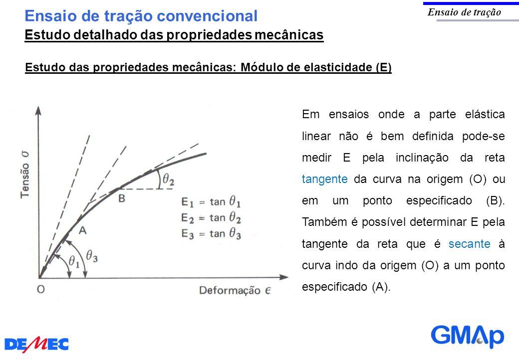 Ensaio de tração convencional Ensaio de tração Estudo das propriedades mecânicas: Módulo de elasticidade (E) Em ensaios onde a parte elástica linear n