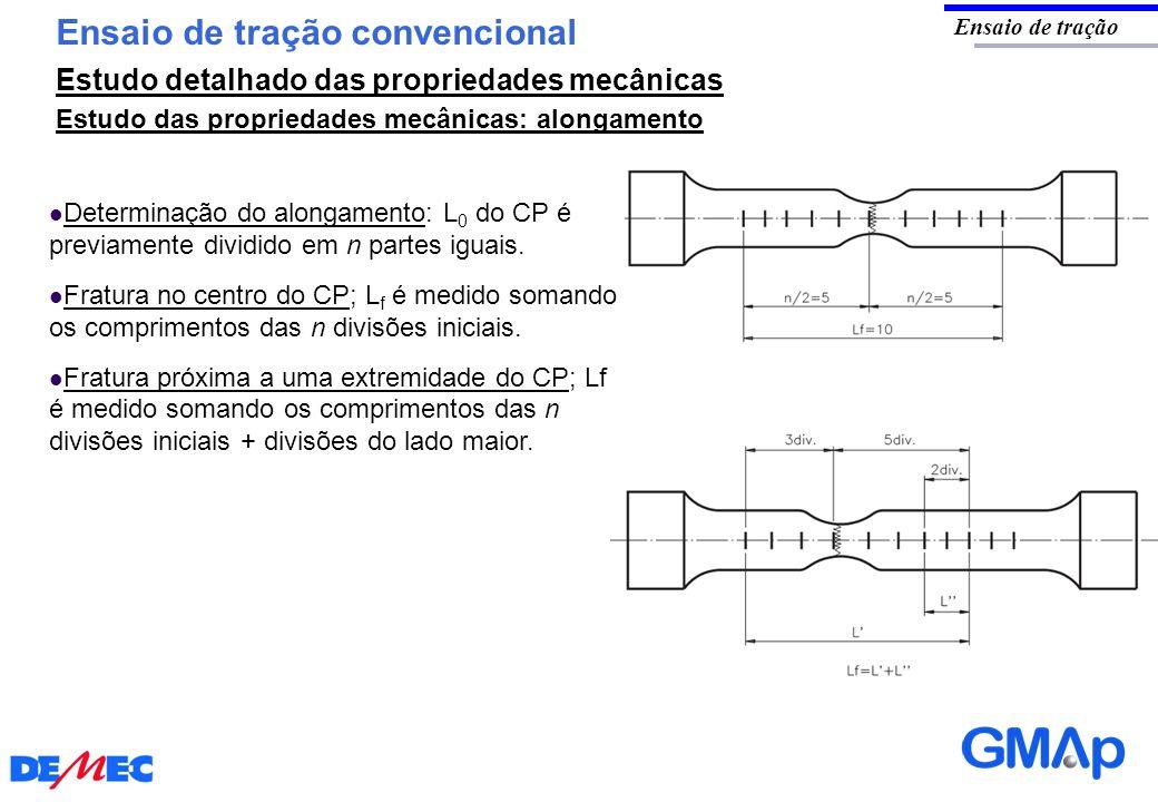 Ensaio de tração convencional Ensaio de tração Estudo das propriedades mecânicas: alongamento Determinação do alongamento: L 0 do CP é previamente div