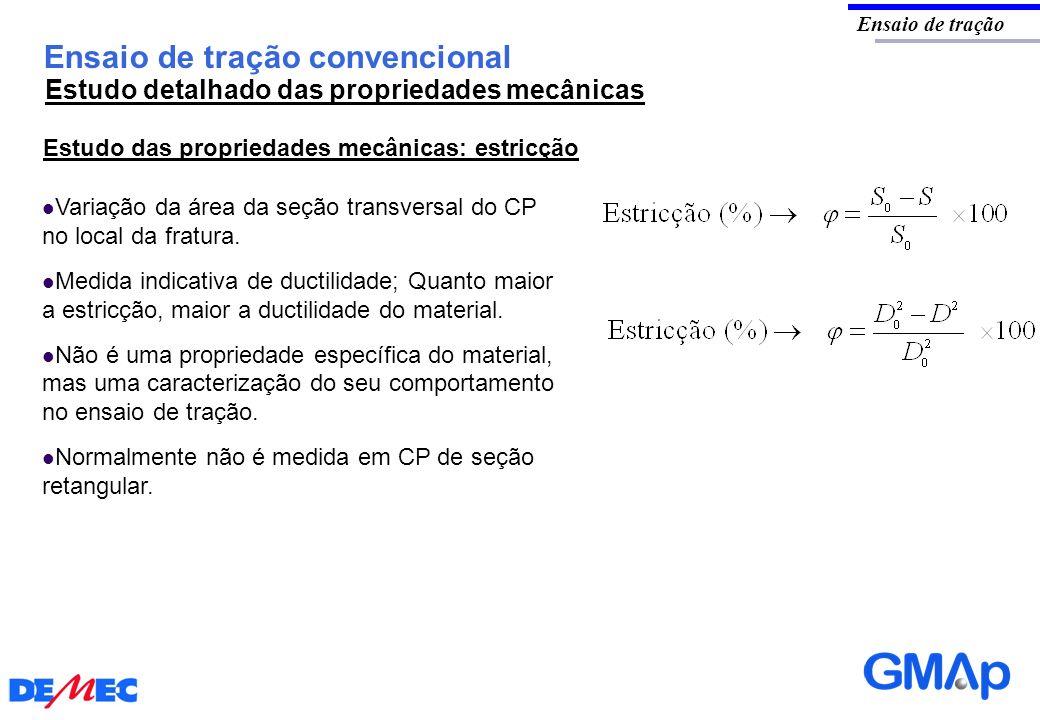 Ensaio de tração convencional Ensaio de tração Estudo das propriedades mecânicas: estricção Variação da área da seção transversal do CP no local da fr