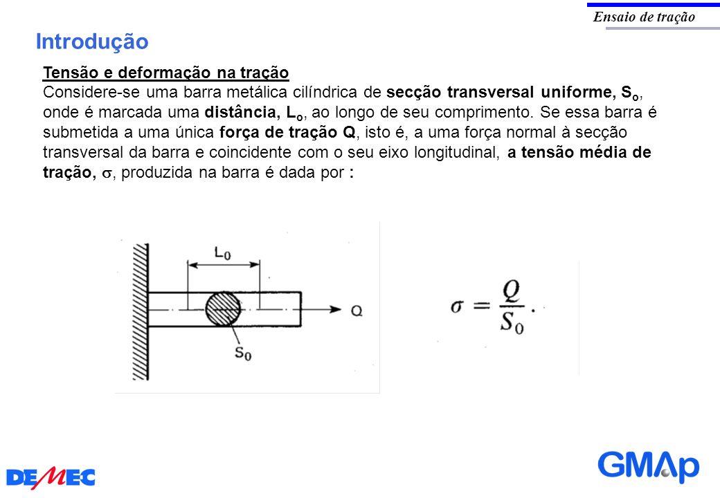 Introdução Ensaio de tração Considere-se uma barra metálica cilíndrica de secção transversal uniforme, S o, onde é marcada uma distância, L o, ao long