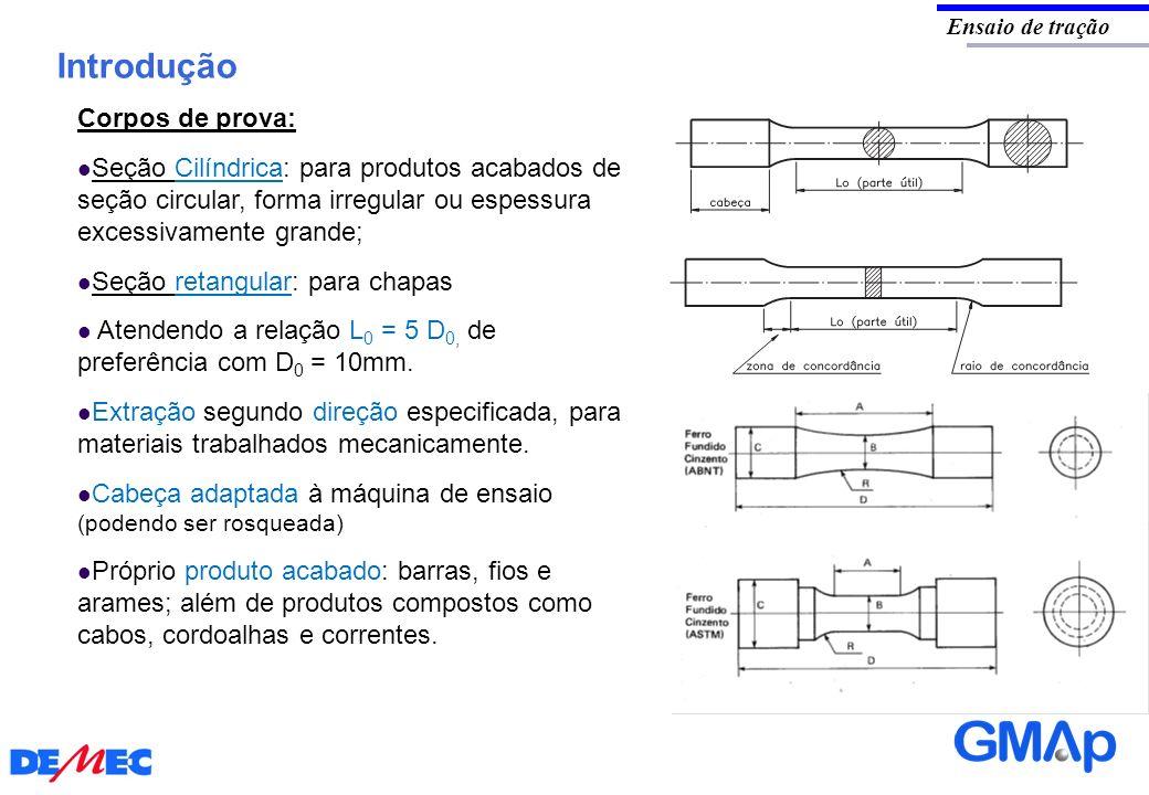 Introdução Ensaio de tração Corpos de prova: Seção Cilíndrica: para produtos acabados de seção circular, forma irregular ou espessura excessivamente g