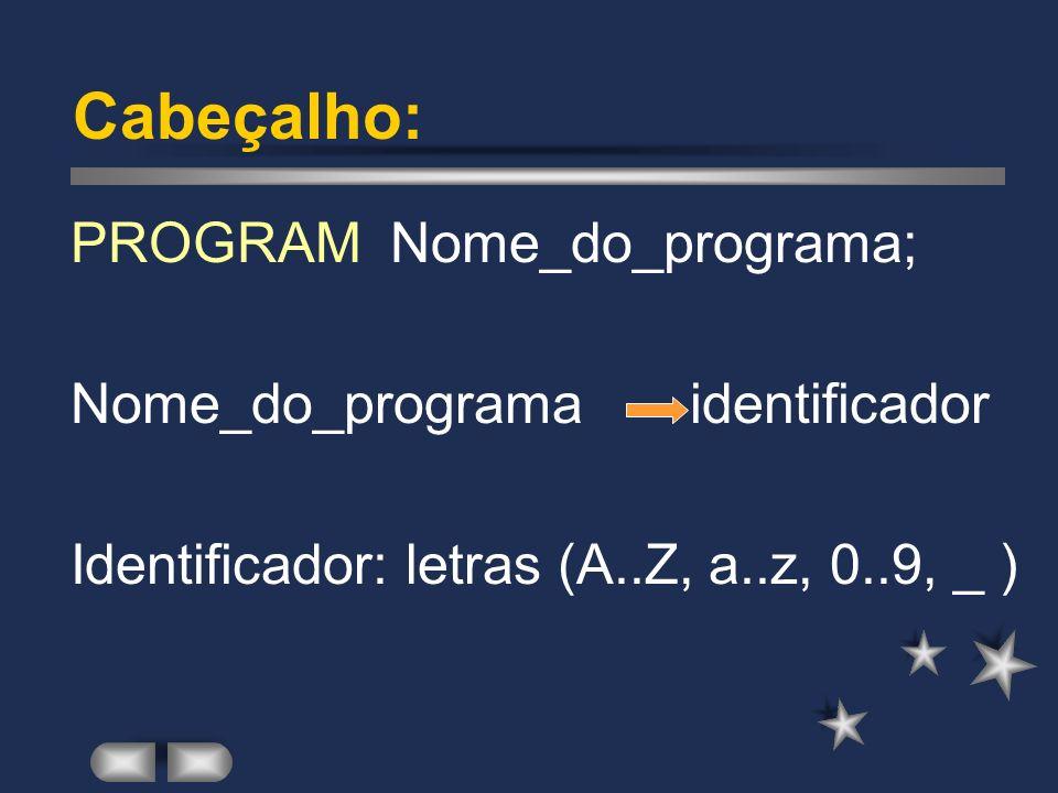 Estrutura do Programa Pascal PROGRAM Nome_do_programa; [ declarações ] BEGIN [ Instruções ] END. Sintaxe: