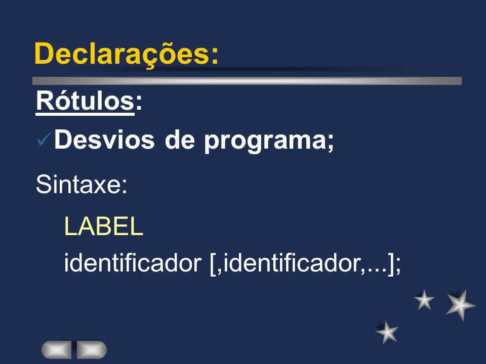 Declarações: Tipos: Definição de novos tipos; Sintaxe: TYPE identificador [,identificador,...] = tipo;