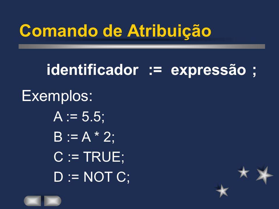 Tipos de Dados em Pascal Alfanuméricos: CHAR 1 (um) caracter 1 byte STRING cadeia de car. 2 a 256 bytes Lógicos: BOOLEAN True/False 1 byte Ponteiros: