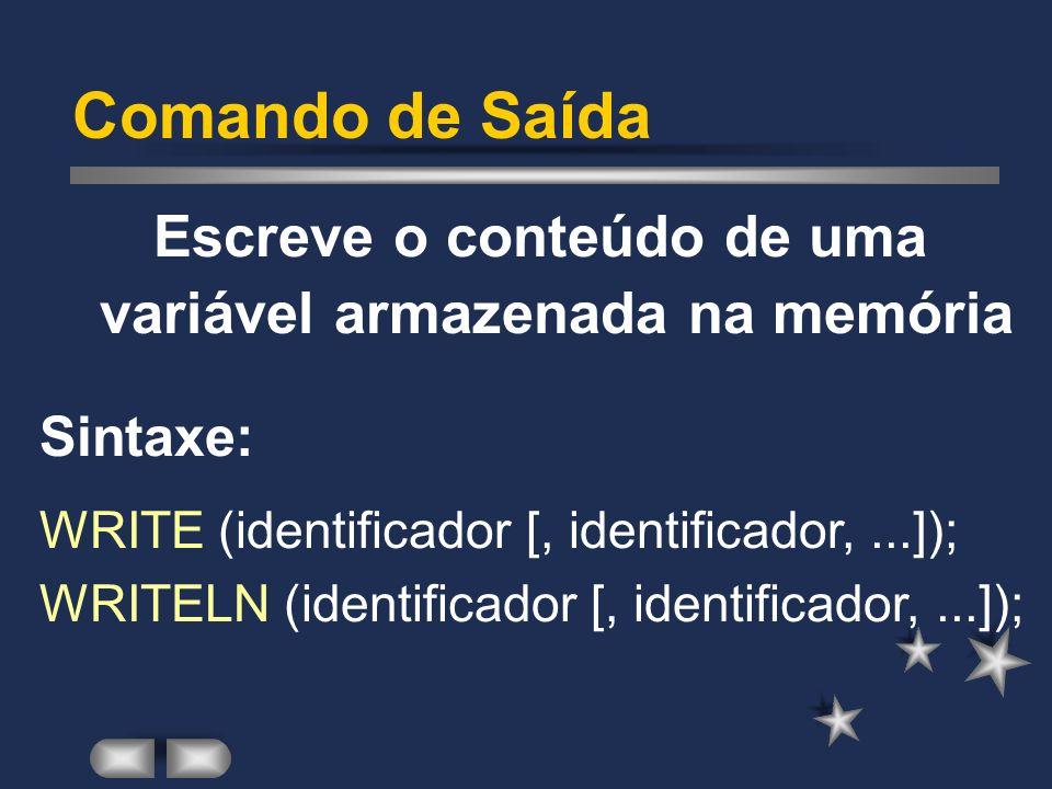 Comando de Entrada Lê o conteúdo de uma variável, armazenando-a na memória Sintaxe: READ (identificador [, identificador,...]); READLN (identificador