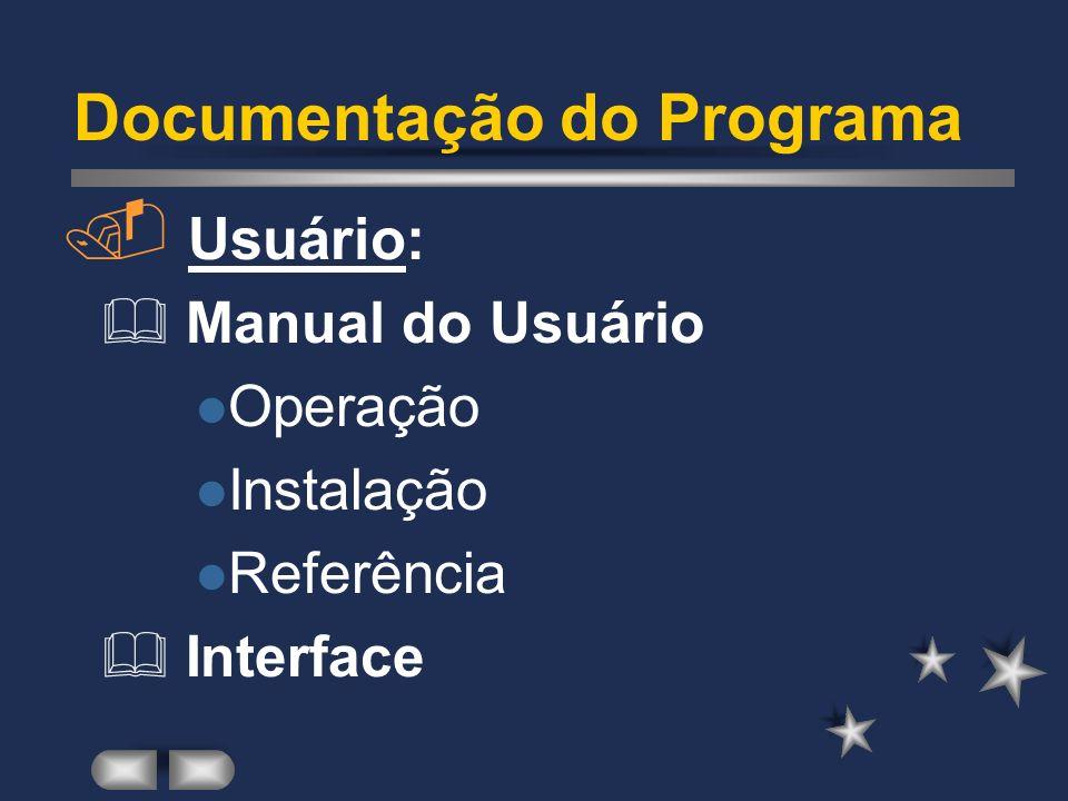 Documentação do Programa. Manutenção: Documentação do Sistema e da Programação (Comentários); Documentação de Testes (Exemplos, E/S); Documentação His