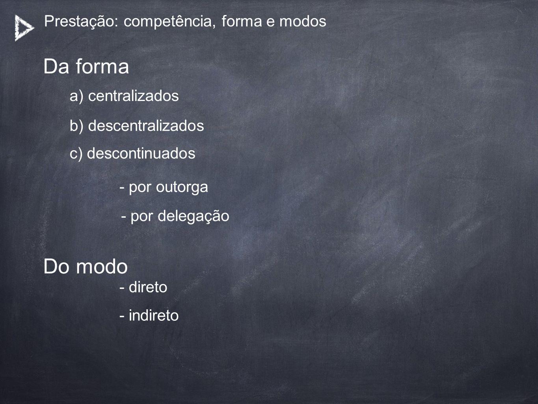 Prestação: competência, forma e modos a) centralizados Da forma b) descentralizados c) descontinuados - por outorga - por delegação Do modo - direto -