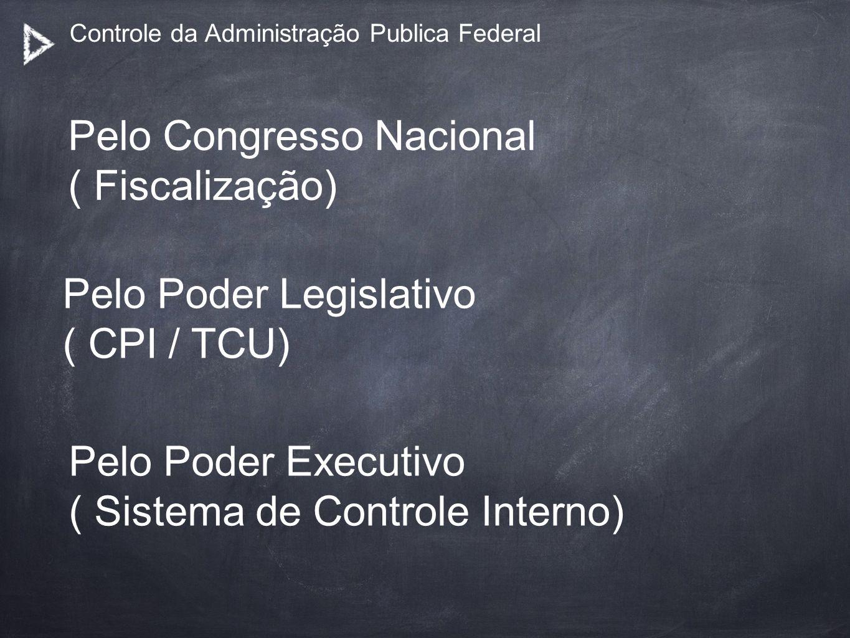 Controle da Administração Publica Federal Pelo Congresso Nacional ( Fiscalização) Pelo Poder Legislativo ( CPI / TCU) Pelo Poder Executivo ( Sistema d