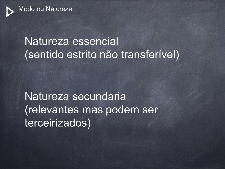 Modo ou Natureza Natureza essencial (sentido estrito não transferível) Natureza secundaria (relevantes mas podem ser terceirizados)