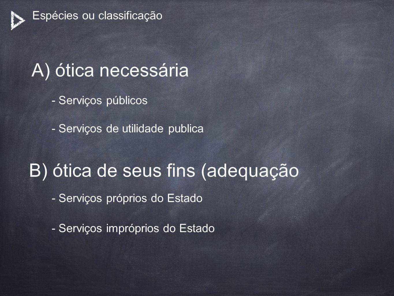 Espécies ou classificação A) ótica necessária B) ótica de seus fins (adequação - Serviços públicos - Serviços de utilidade publica - Serviços próprios