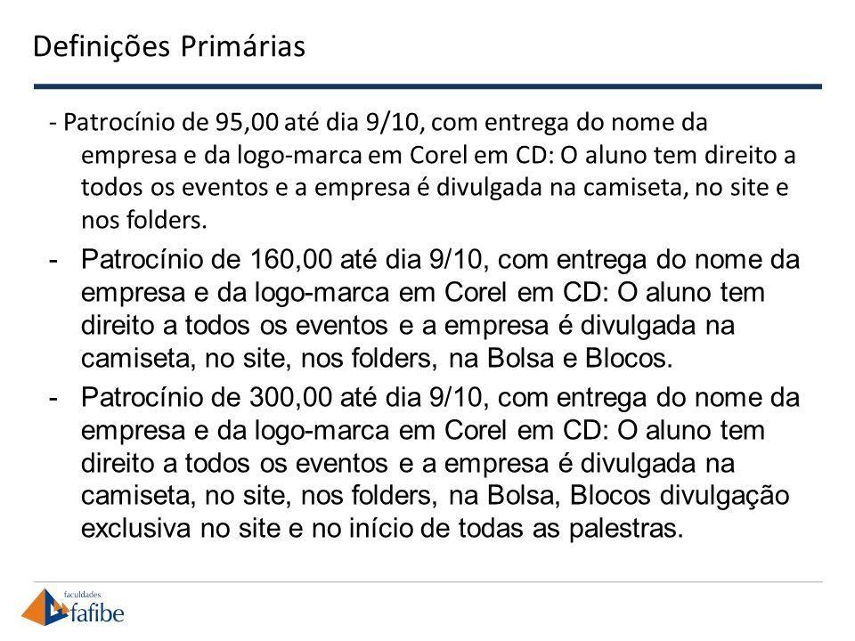 Definições Primárias - Patrocínio de 95,00 até dia 9/10, com entrega do nome da empresa e da logo-marca em Corel em CD: O aluno tem direito a todos os eventos e a empresa é divulgada na camiseta, no site e nos folders.