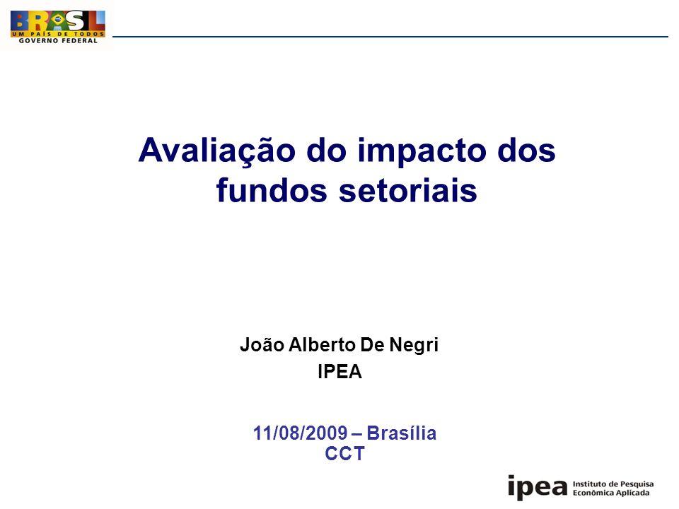Avaliação do impacto dos fundos setoriais João Alberto De Negri IPEA 11/08/2009 – Brasília CCT