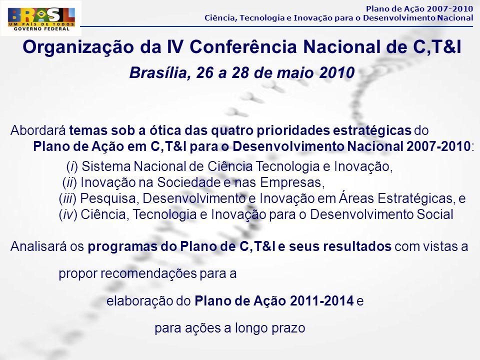 Organização da IV Conferência Nacional de C,T&I Brasília, 26 a 28 de maio 2010 Plano de Ação 2007-2010 Ciência, Tecnologia e Inovação para o Desenvolv