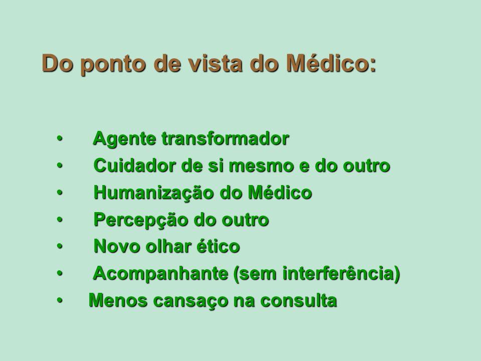 Do ponto de vista do Médico: Agente transformador Agente transformador Cuidador de si mesmo e do outro Cuidador de si mesmo e do outro Humanização do