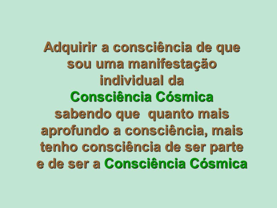 Adquirir a consciência de que sou uma manifestação individual da Consciência Cósmica sabendo que quanto mais aprofundo a consciência, mais tenho consc