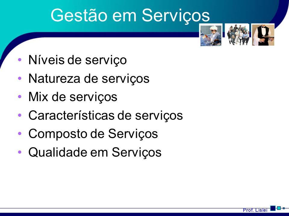 Prof. Líslei Gestão em Serviços Níveis de serviço Natureza de serviços Mix de serviços Características de serviços Composto de Serviços Qualidade em S