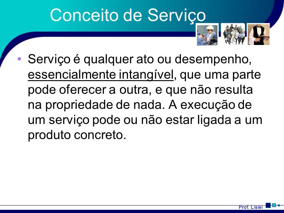 Prof. Líslei Conceito de Serviço Serviço é qualquer ato ou desempenho, essencialmente intangível, que uma parte pode oferecer a outra, e que não resul