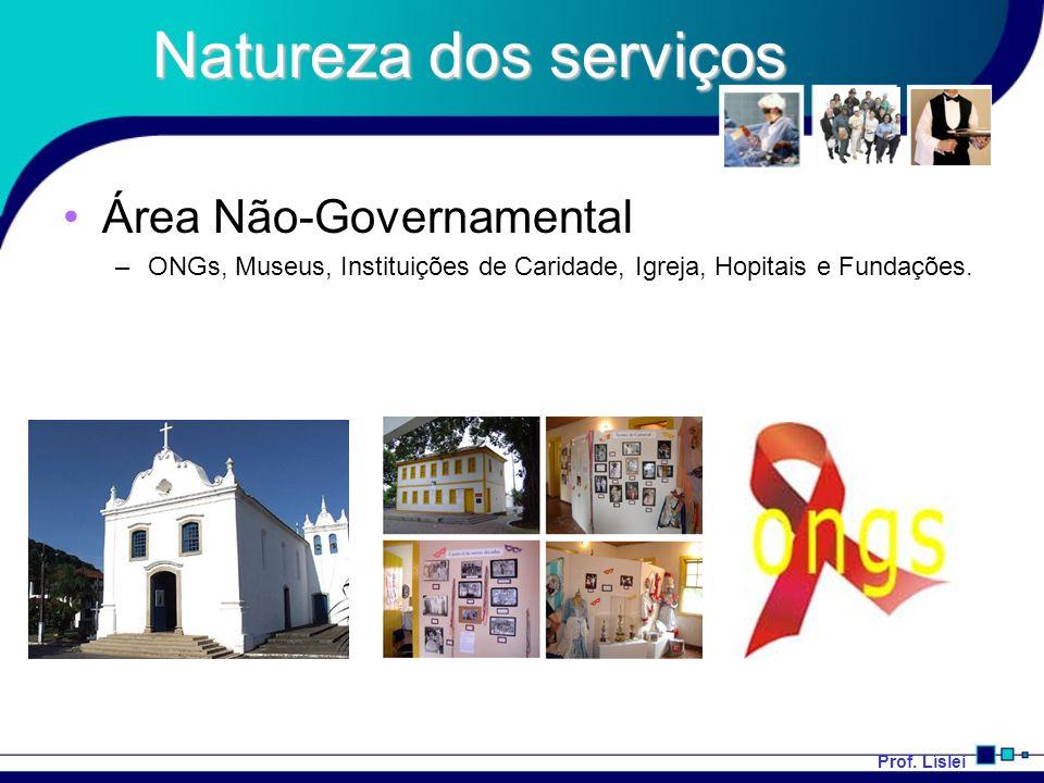 Prof. Líslei Natureza dos serviços Área Não-Governamental –ONGs, Museus, Instituições de Caridade, Igreja, Hopitais e Fundações.