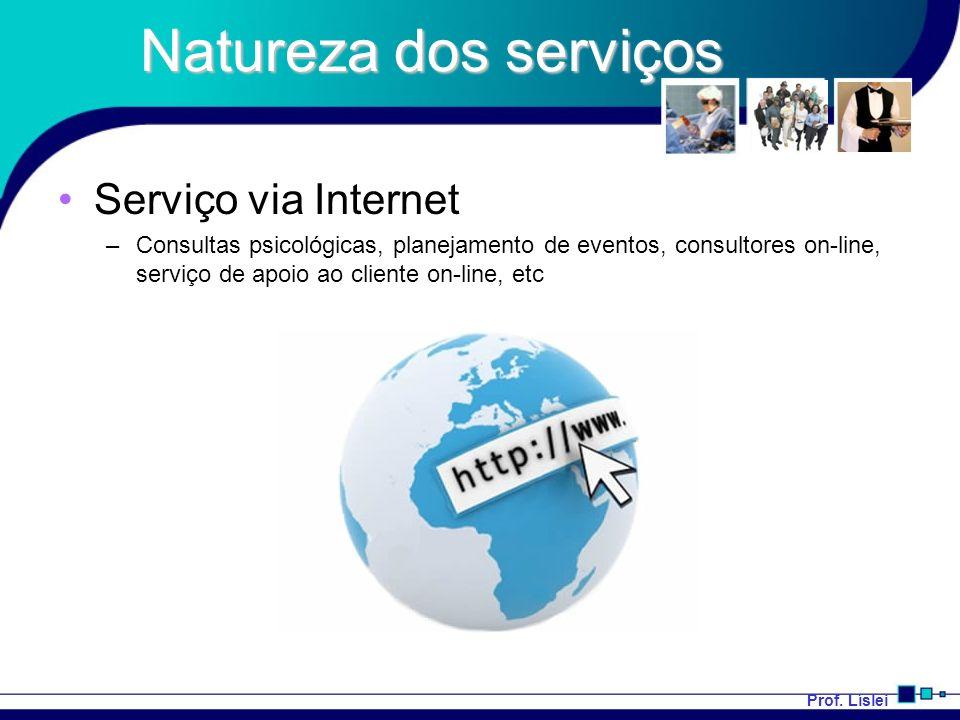 Prof. Líslei Natureza dos serviços Serviço via Internet –Consultas psicológicas, planejamento de eventos, consultores on-line, serviço de apoio ao cli