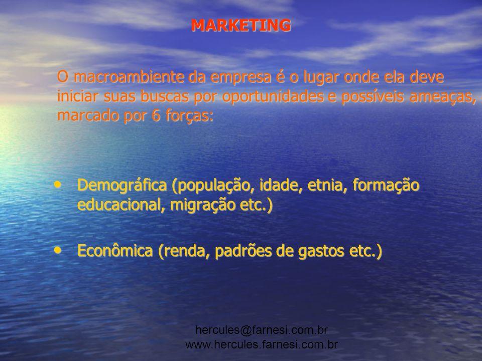 hercules@farnesi.com.br www.hercules.farnesi.com.br MARKETING Natural (matériaprima, poluição, energia, meioambiente etc.) Natural (matériaprima, poluição, energia, meioambiente etc.) Tecnológica (inovações, evolução, pesquisas etc.) Tecnológica (inovações, evolução, pesquisas etc.) Política (regulamentação, órgãos governamentais etc.) Política (regulamentação, órgãos governamentais etc.) Cultural (hábitos, conceitos etc.) Cultural (hábitos, conceitos etc.)