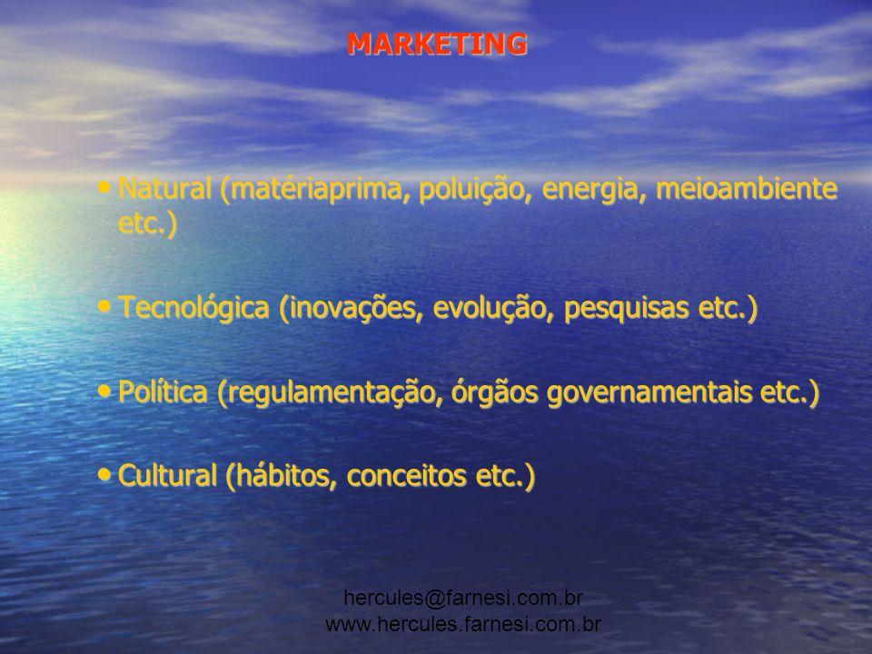 hercules@farnesi.com.br www.hercules.farnesi.com.br MARKETING Os mercados consumidores e o comportamento de compra do consumidor têm que ser entendidos antes que planos de marketing possam ser desenvolvidos.