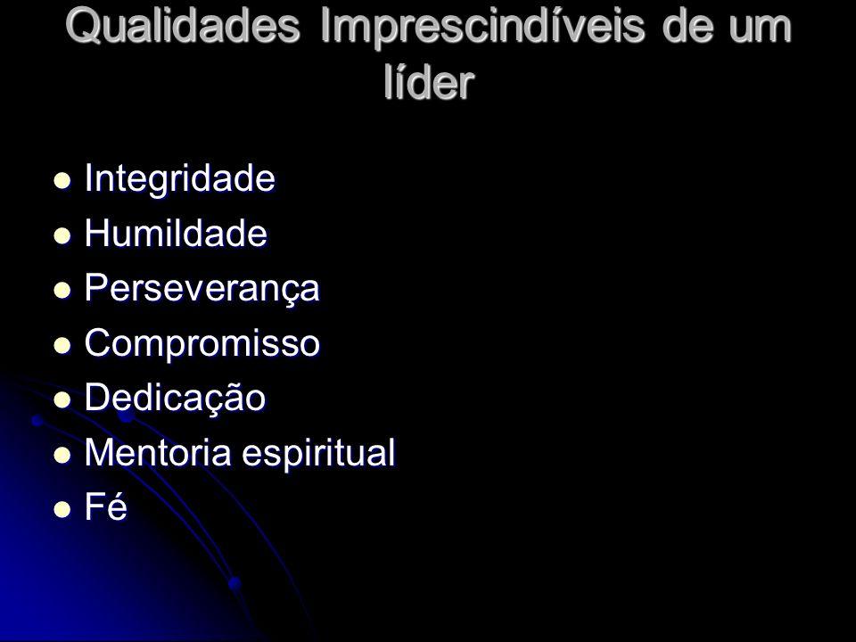 Qualidades Imprescindíveis de um líder Integridade Integridade Humildade Humildade Perseverança Perseverança Compromisso Compromisso Dedicação Dedicaç