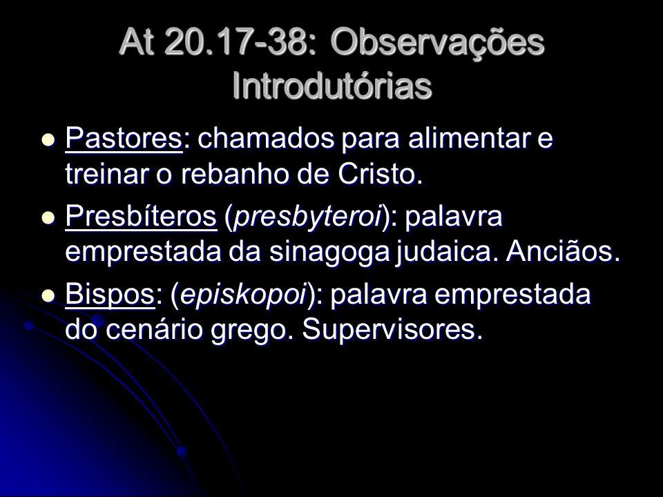At 20.17-38: Observações Introdutórias Pastores: chamados para alimentar e treinar o rebanho de Cristo. Pastores: chamados para alimentar e treinar o