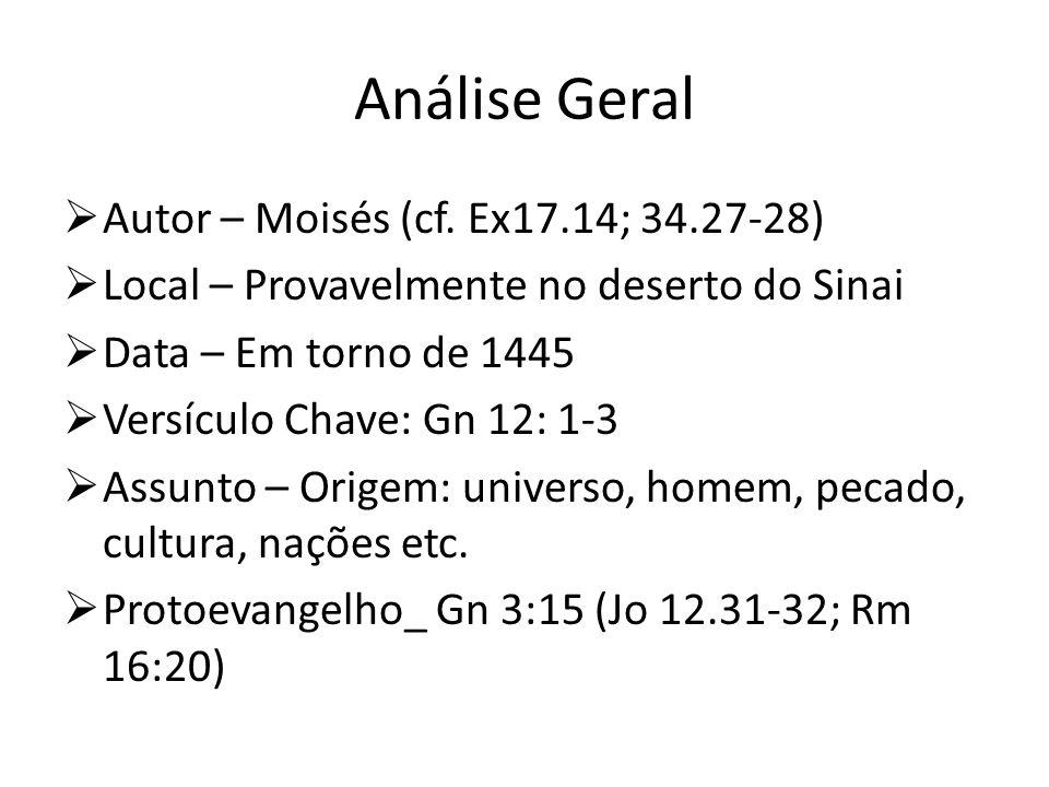 Análise Geral Autor – Moisés (cf. Ex17.14; 34.27-28) Local – Provavelmente no deserto do Sinai Data – Em torno de 1445 Versículo Chave: Gn 12: 1-3 Ass