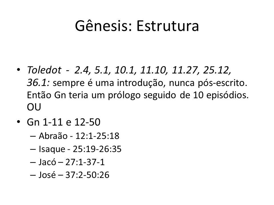 Gênesis: Estrutura Toledot - 2.4, 5.1, 10.1, 11.10, 11.27, 25.12, 36.1: sempre é uma introdução, nunca pós-escrito. Então Gn teria um prólogo seguido