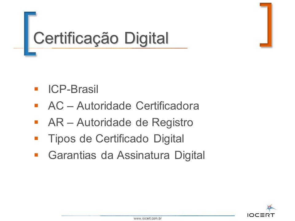 www.iocert.com.br Certificação Digital ICP-Brasil AC – Autoridade Certificadora AR – Autoridade de Registro Tipos de Certificado Digital Garantias da