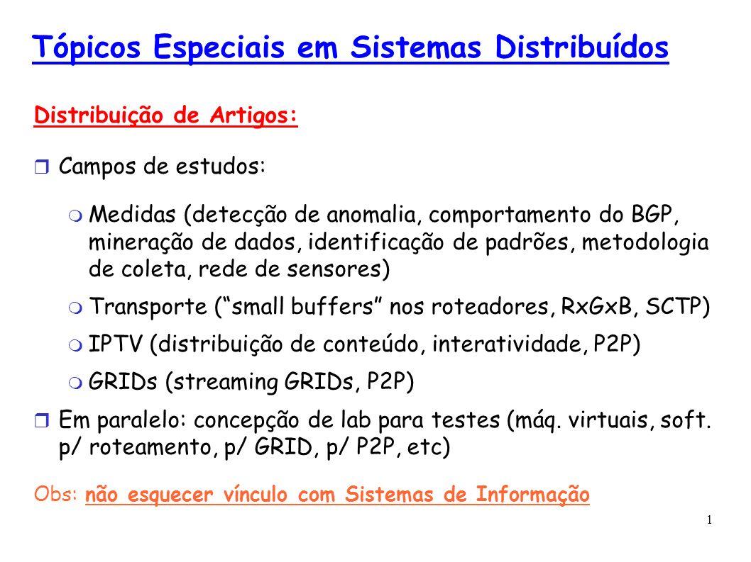 1 Tópicos Especiais em Sistemas Distribuídos Distribuição de Artigos: Campos de estudos: Medidas (detecção de anomalia, comportamento do BGP, mineraçã
