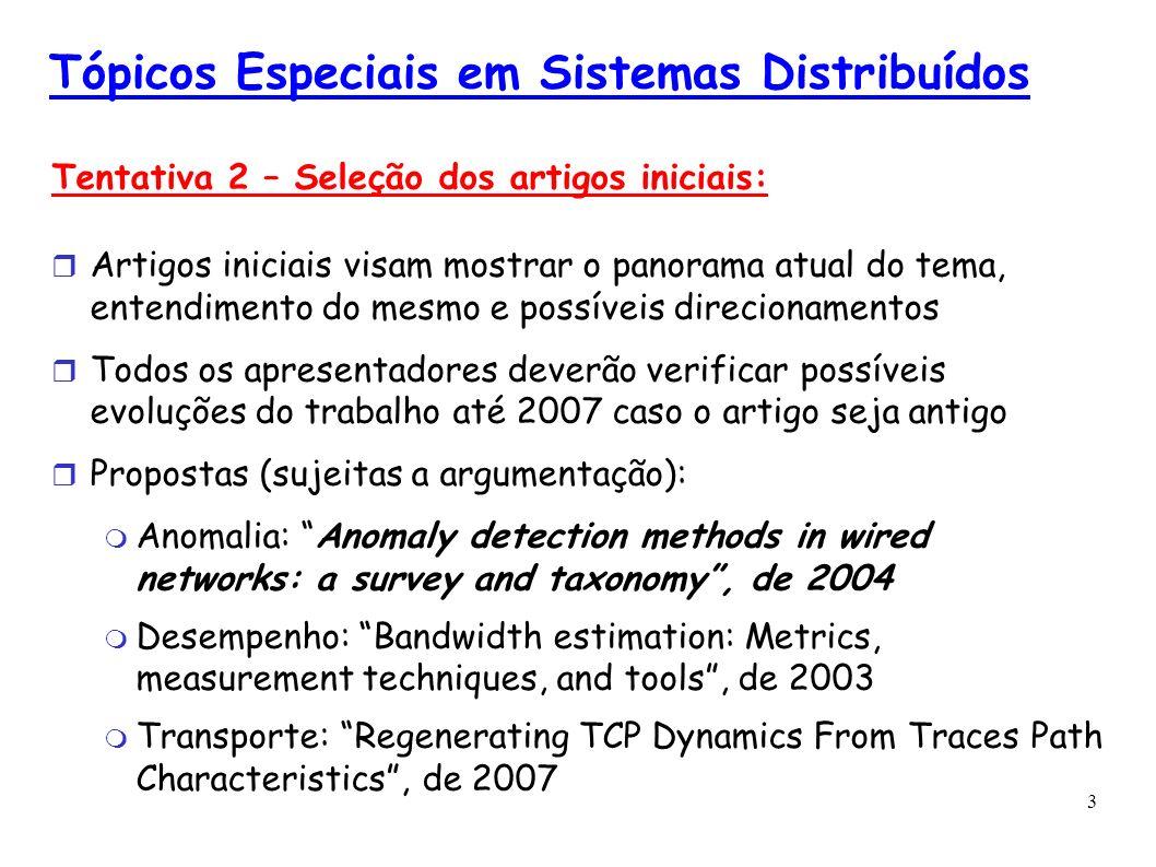 3 Tópicos Especiais em Sistemas Distribuídos Tentativa 2 – Seleção dos artigos iniciais: Artigos iniciais visam mostrar o panorama atual do tema, ente
