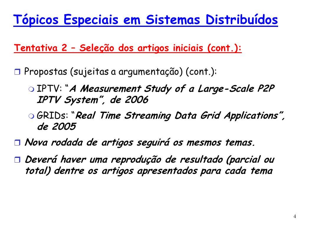 4 Tópicos Especiais em Sistemas Distribuídos Tentativa 2 – Seleção dos artigos iniciais (cont.): Propostas (sujeitas a argumentação) (cont.): IPTV: A