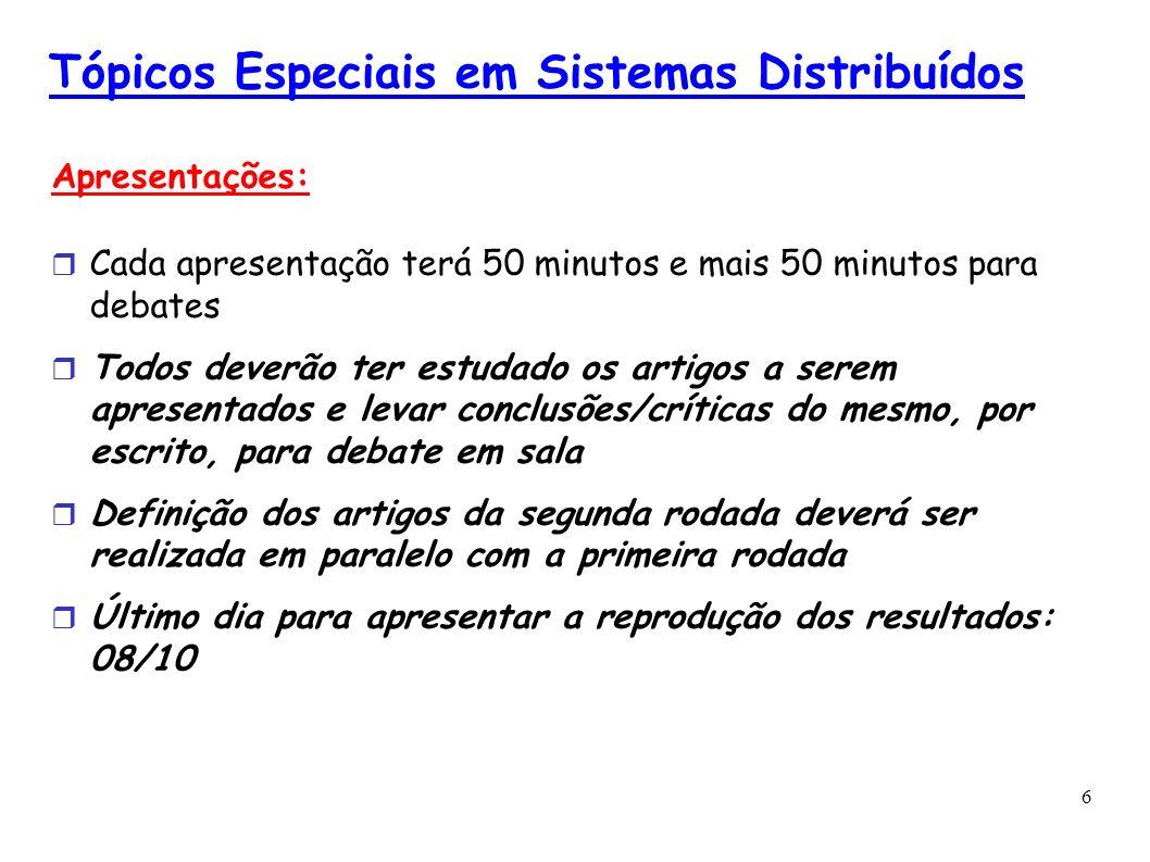 6 Tópicos Especiais em Sistemas Distribuídos Apresentações: Cada apresentação terá 50 minutos e mais 50 minutos para debates Todos deverão ter estudad