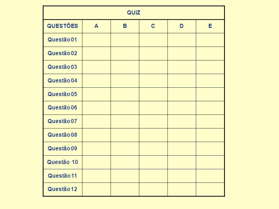 QUESTÕESABCDE Questão 01 Questão 02 Questão 03 Questão 04 Questão 05 Questão 06 Questão 07 Questão 08 Questão 09 Questão 10 Questão 11 Questão 12