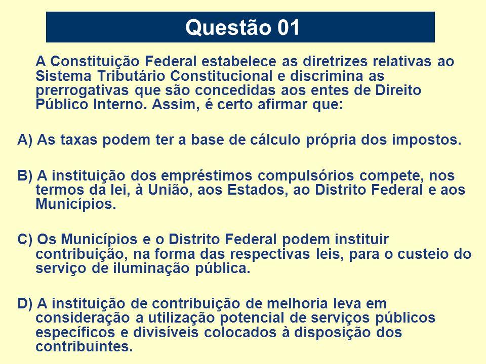 Questão 12 Sobre os tributos previstos no Código Tributário Nacional – CTN – aponte a alternativa correta.