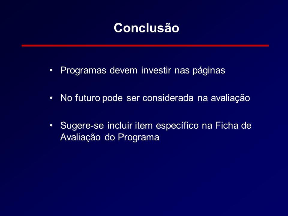 Conclusão Programas devem investir nas páginas No futuro pode ser considerada na avaliação Sugere-se incluir item específico na Ficha de Avaliação do Programa