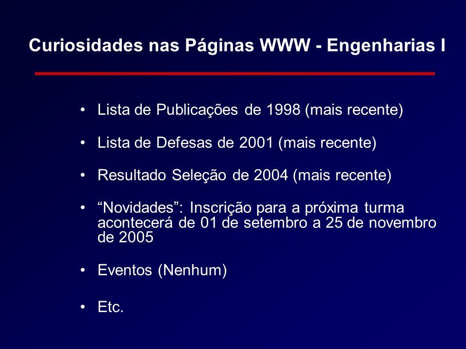 Curiosidades nas Páginas WWW - Engenharias I Lista de Publicações de 1998 (mais recente) Lista de Defesas de 2001 (mais recente) Resultado Seleção de 2004 (mais recente) Novidades: Inscrição para a próxima turma acontecerá de 01 de setembro a 25 de novembro de 2005 Eventos (Nenhum) Etc.