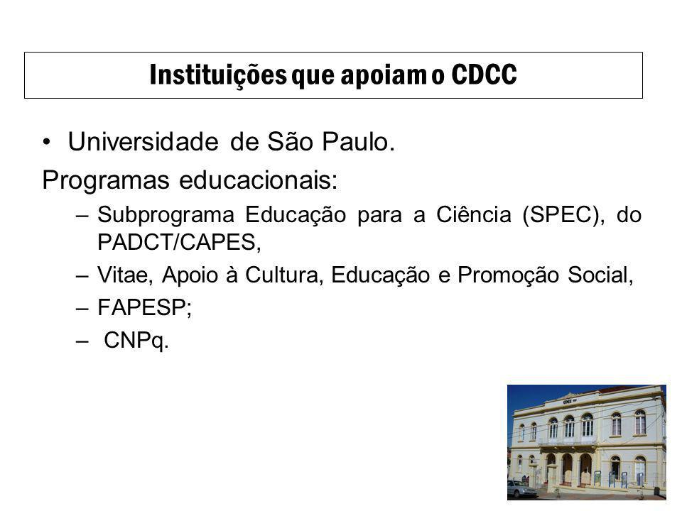 Universidade de São Paulo. Programas educacionais: –Subprograma Educação para a Ciência (SPEC), do PADCT/CAPES, –Vitae, Apoio à Cultura, Educação e Pr